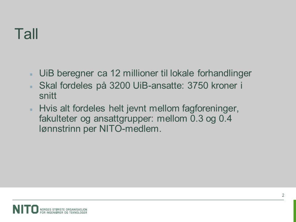 2 Tall UiB beregner ca 12 millioner til lokale forhandlinger Skal fordeles på 3200 UiB-ansatte: 3750 kroner i snitt Hvis alt fordeles helt jevnt mellom fagforeninger, fakulteter og ansattgrupper: mellom 0.3 og 0.4 lønnstrinn per NITO-medlem.