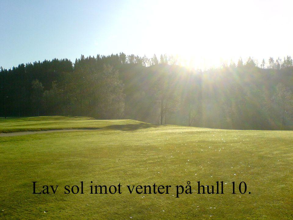 Lav sol imot venter på hull 10.