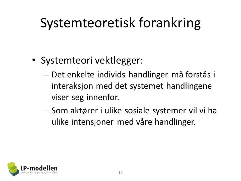 Systemteoretisk forankring • Systemteori vektlegger: – Det enkelte individs handlinger må forstås i interaksjon med det systemet handlingene viser seg