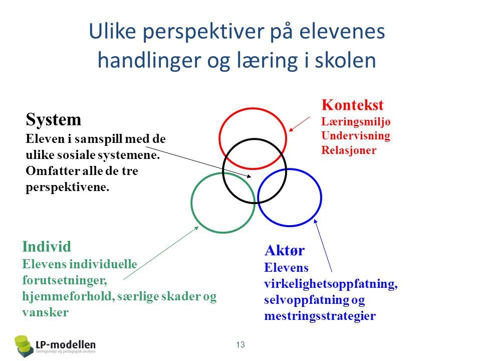 Ulike perspektiver på elevenes handlinger og læring i skolen Kontekst Læringsmiljø Undervisning Relasjoner Individ Elevens individuelle forutsetninger