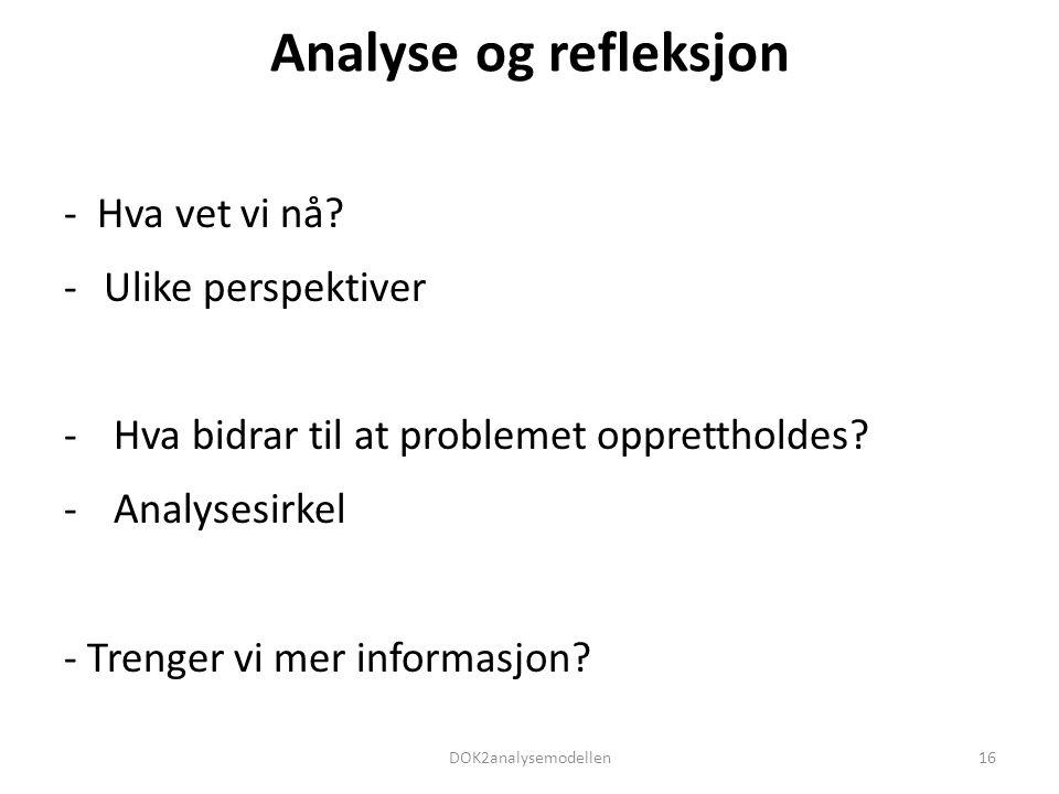 Analyse og refleksjon - Hva vet vi nå? -Ulike perspektiver - Hva bidrar til at problemet opprettholdes? - Analysesirkel - Trenger vi mer informasjon?