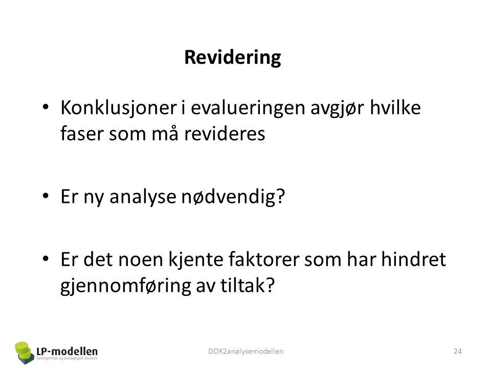 Revidering • Konklusjoner i evalueringen avgjør hvilke faser som må revideres • Er ny analyse nødvendig? • Er det noen kjente faktorer som har hindret