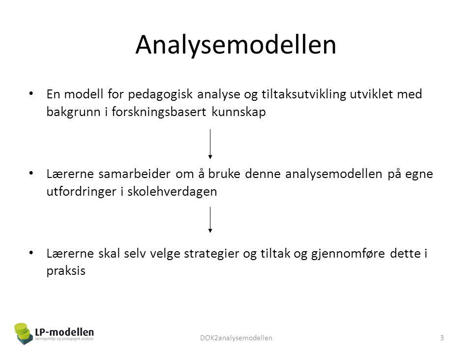 Analysemodellen • En modell for pedagogisk analyse og tiltaksutvikling utviklet med bakgrunn i forskningsbasert kunnskap • Lærerne samarbeider om å br