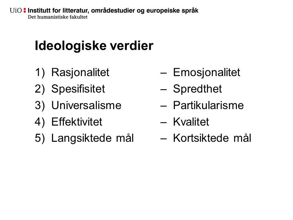 Ideologiske verdier 1)Rasjonalitet 2)Spesifisitet 3)Universalisme 4)Effektivitet 5)Langsiktede mål – Emosjonalitet – Spredthet – Partikularisme – Kvalitet – Kortsiktede mål