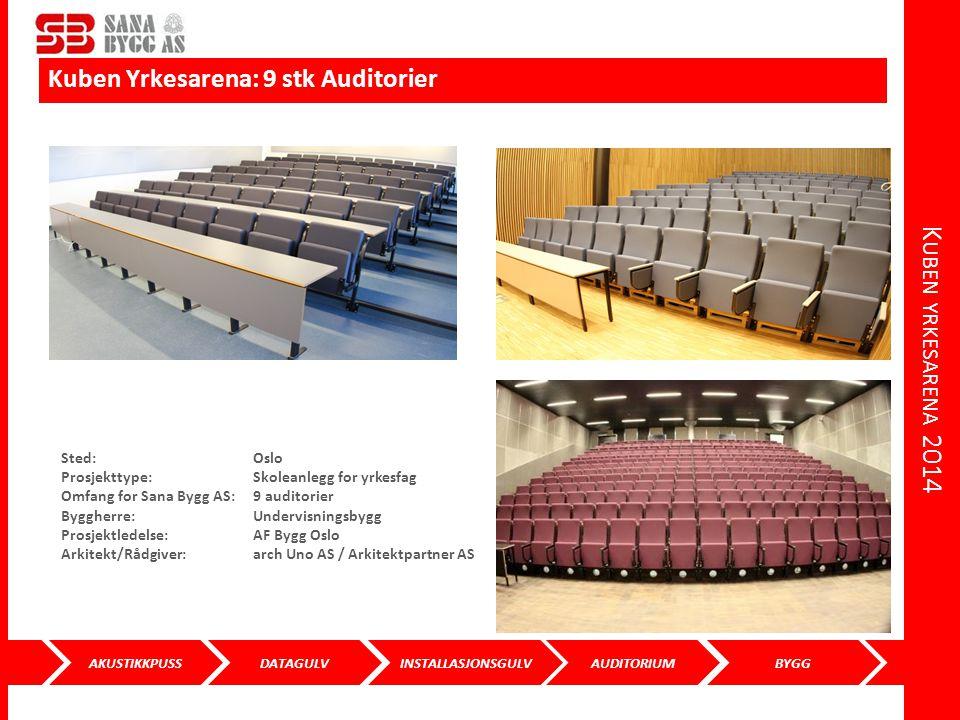 AKUSTIKKPUSS DATAGULVINSTALLASJONSGULVAUDITORIUMBYGG K UBEN YRKESARENA 2014 Kuben Yrkesarena: 9 stk Auditorier Sted: Oslo Prosjekttype: Skoleanlegg fo