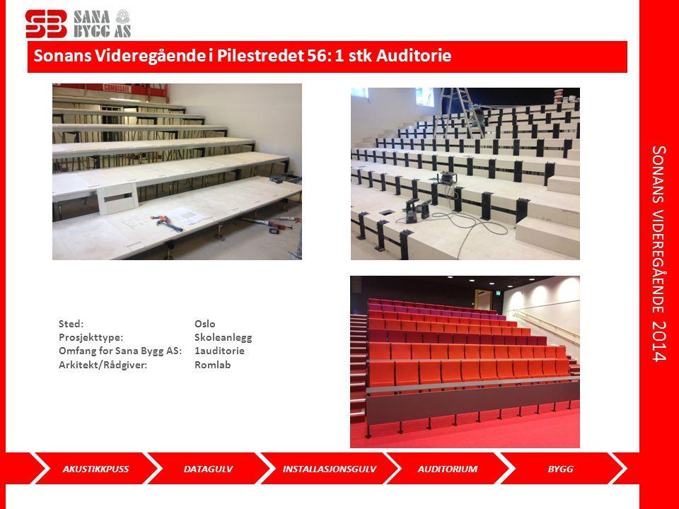 AKUSTIKKPUSS DATAGULVINSTALLASJONSGULVAUDITORIUMBYGG S ONANS VIDEREGÅENDE 2014 Sonans Videregående i Pilestredet 56: 1 stk Auditorie Sted: Oslo Prosje