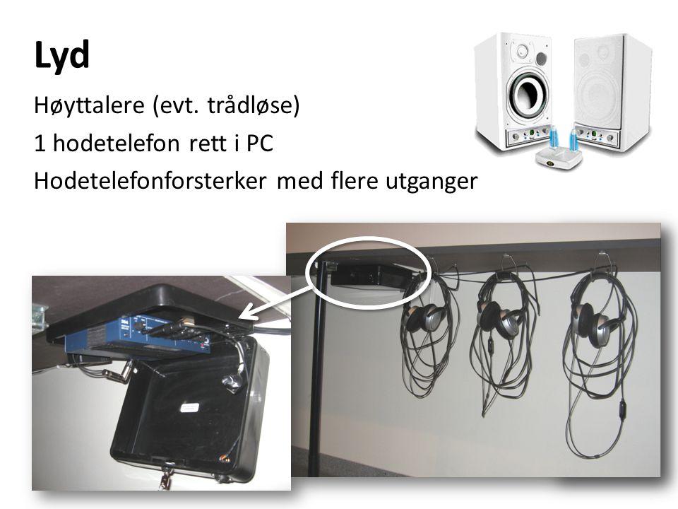 Lyd Høyttalere (evt. trådløse) 1 hodetelefon rett i PC Hodetelefonforsterker med flere utganger