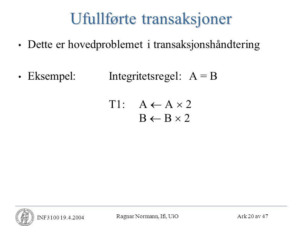 Ragnar Normann, Ifi, UiO Ark 20 av 47 INF3100 19.4.2004 Ufullførte transaksjoner • Dette er hovedproblemet i transaksjonshåndtering • Eksempel:Integritetsregel: A = B T1:A  A  2 B  B  2