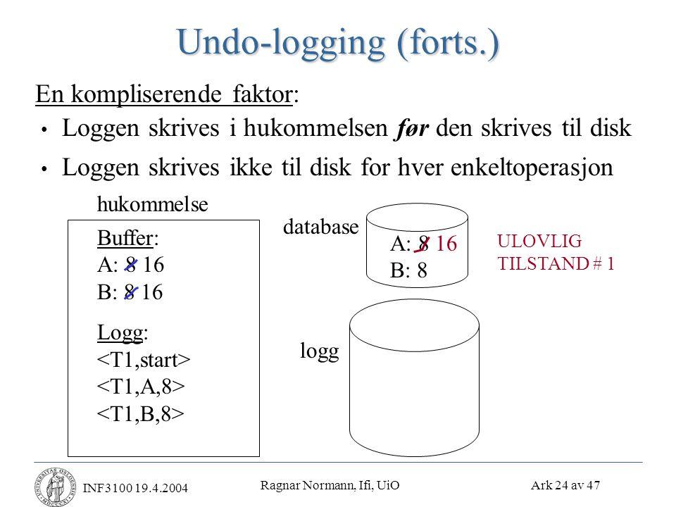 Ragnar Normann, Ifi, UiO Ark 24 av 47 INF3100 19.4.2004 Undo-logging (forts.) • Loggen skrives i hukommelsen før den skrives til disk • Loggen skrives ikke til disk for hver enkeltoperasjon En kompliserende faktor: hukommelse Buffer: A: 8 16 B: 8 16 Logg: database A: 8 B: 8 16 ULOVLIG TILSTAND # 1 logg