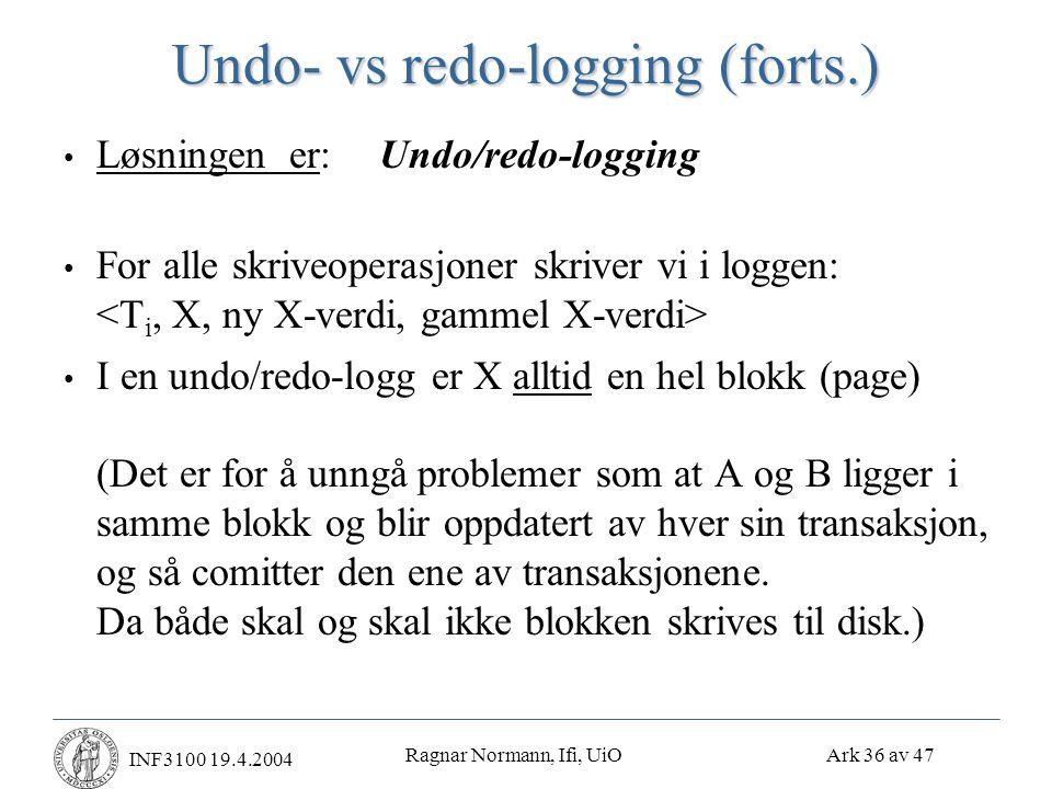 Ragnar Normann, Ifi, UiO Ark 36 av 47 INF3100 19.4.2004 Undo- vs redo-logging (forts.) • Løsningen er:Undo/redo-logging • For alle skriveoperasjoner skriver vi i loggen: • I en undo/redo-logg er X alltid en hel blokk (page) (Det er for å unngå problemer som at A og B ligger i samme blokk og blir oppdatert av hver sin transaksjon, og så comitter den ene av transaksjonene.