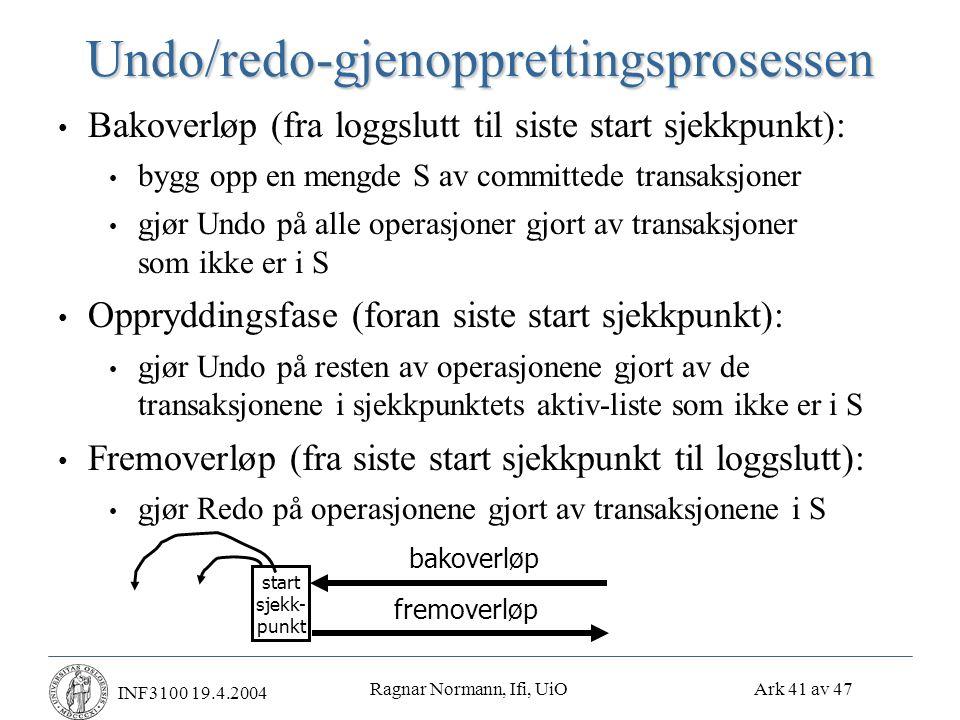 Ragnar Normann, Ifi, UiO Ark 41 av 47 INF3100 19.4.2004Undo/redo-gjenopprettingsprosessen • Bakoverløp (fra loggslutt til siste start sjekkpunkt): • bygg opp en mengde S av committede transaksjoner • gjør Undo på alle operasjoner gjort av transaksjoner som ikke er i S • Oppryddingsfase (foran siste start sjekkpunkt): • gjør Undo på resten av operasjonene gjort av de transaksjonene i sjekkpunktets aktiv-liste som ikke er i S • Fremoverløp (fra siste start sjekkpunkt til loggslutt): • gjør Redo på operasjonene gjort av transaksjonene i S bakoverløp fremoverløp start sjekk- punkt