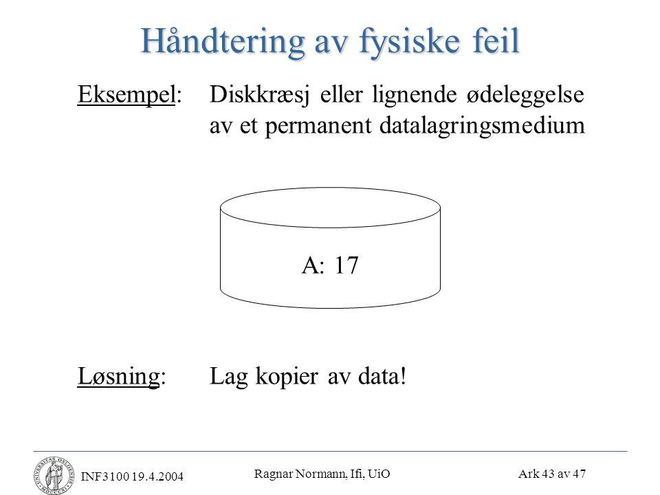 Ragnar Normann, Ifi, UiO Ark 43 av 47 INF3100 19.4.2004 Håndtering av fysiske feil Eksempel:Diskkræsj eller lignende ødeleggelse av et permanent datalagringsmedium A: 17 Løsning:Lag kopier av data!