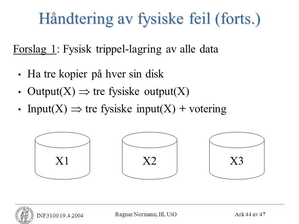 Ragnar Normann, Ifi, UiO Ark 44 av 47 INF3100 19.4.2004 Håndtering av fysiske feil (forts.) • Ha tre kopier på hver sin disk • Output(X)  tre fysiske output(X) • Input(X)  tre fysiske input(X) + votering Forslag 1: Fysisk trippel-lagring av alle data X1X2X3