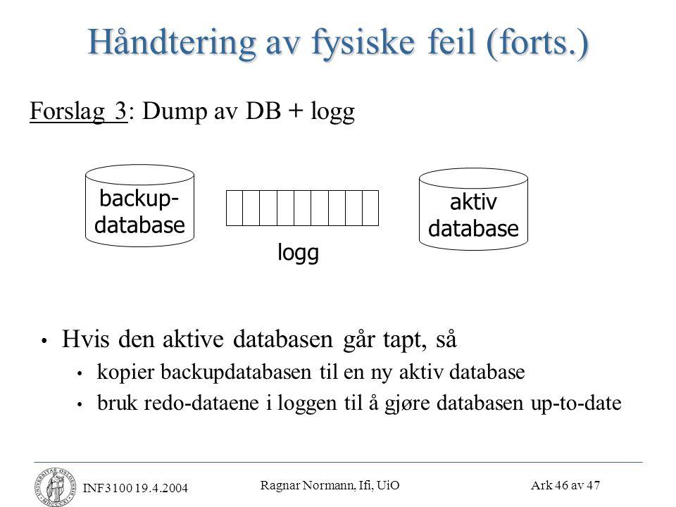 Ragnar Normann, Ifi, UiO Ark 46 av 47 INF3100 19.4.2004 Håndtering av fysiske feil (forts.) • Hvis den aktive databasen går tapt, så • kopier backupdatabasen til en ny aktiv database • bruk redo-dataene i loggen til å gjøre databasen up-to-date Forslag 3: Dump av DB + logg backup- database aktiv database logg
