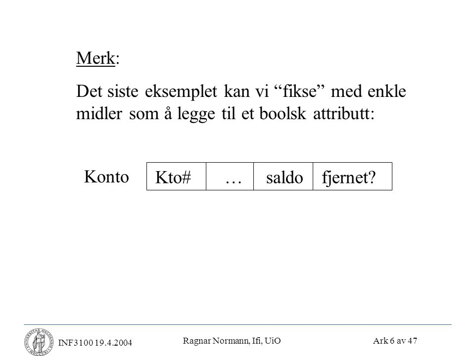 Ragnar Normann, Ifi, UiO Ark 37 av 47 INF3100 19.4.2004Undo/redo-logging • Regler for undo/redo-logging: 1) Ingen skriveoperasjon write(X,v) får utføres før transaksjonen vet at den ikke må abortere 2) For hver write(X,v) (der X er en blokk): Skriv en linje (post) i loggen som inneholder både den gamle og den nye verdien av X 3) Skriv loggposten til disk før X oppdateres i DB 4) Flush loggen ved commit • Merk:Blokken X kan skrives til disk både før og etter at transaksjonen committer.