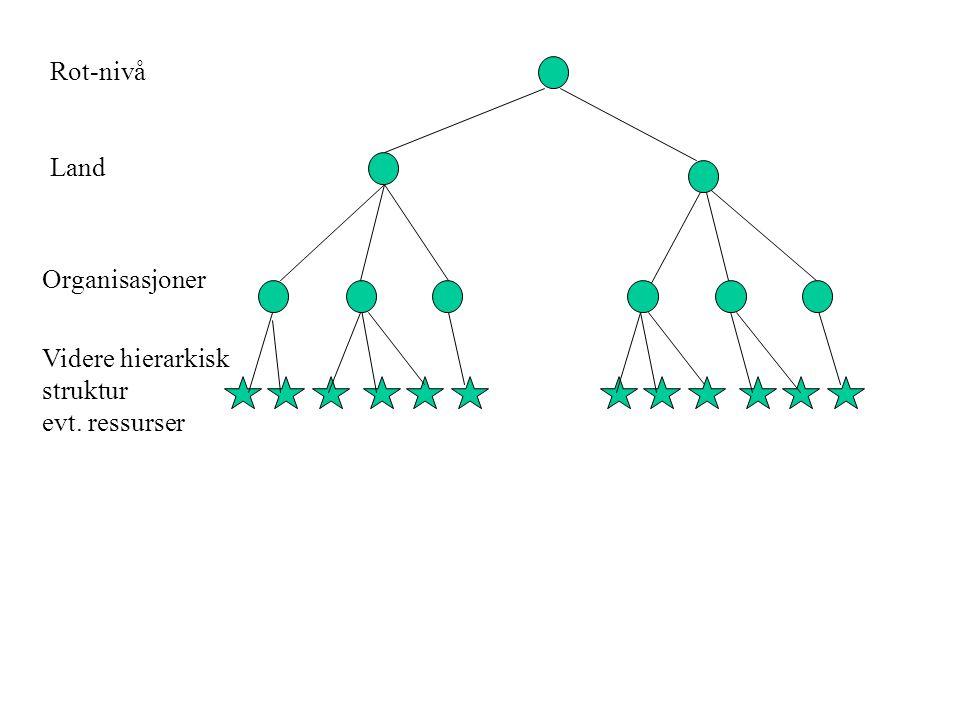 Rot-nivå Land Organisasjoner Videre hierarkisk struktur evt. ressurser