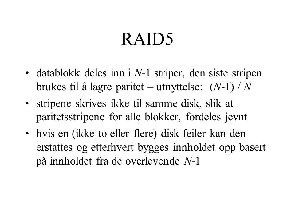 RAID5 •datablokk deles inn i N-1 striper, den siste stripen brukes til å lagre paritet – utnyttelse: (N-1) / N •stripene skrives ikke til samme disk, slik at paritetsstripene for alle blokker, fordeles jevnt •hvis en (ikke to eller flere) disk feiler kan den erstattes og etterhvert bygges innholdet opp basert på innholdet fra de overlevende N-1