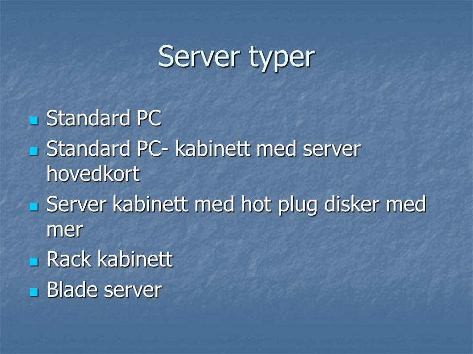Server typer  Standard PC  Standard PC- kabinett med server hovedkort  Server kabinett med hot plug disker med mer  Rack kabinett  Blade server