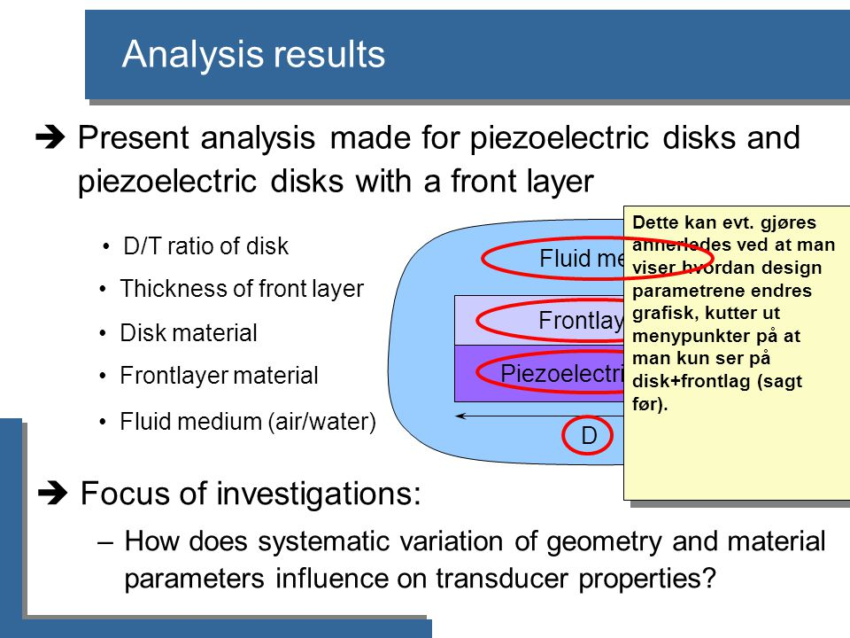 Piezoelectric disk Frontlayer D T T front Fluid medium Analysis results  Focus of investigations: –How does systematic variation of geometry and mate