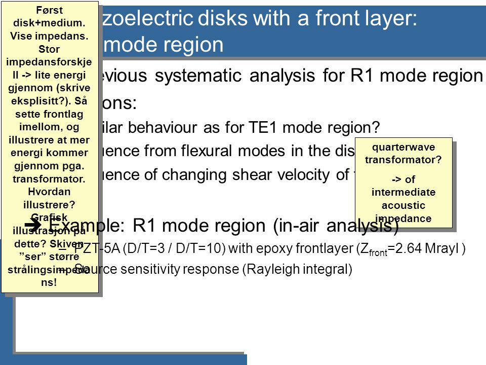 Piezoelectric disks with a front layer: R1 mode region  No previous systematic analysis for R1 mode region  Questions: –Similar behaviour as for TE1