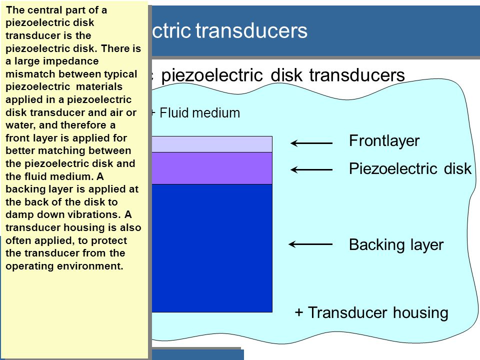 Piezoelectric disks with a front layer: Thick disk, TE1 mode region Først disk+medium.