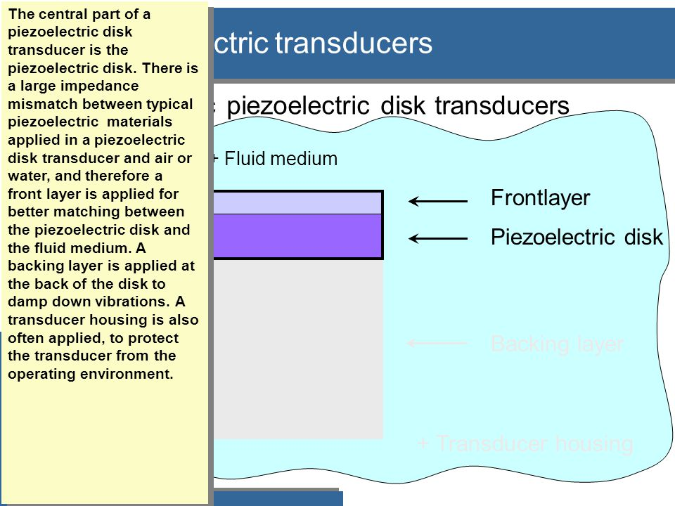 Fluid medium: Z  400 rayl -1.5 Mrayl Piezoelectric disk: Z  35 Mrayl D T Piezoelectric disks with a front layer: General theory  Piezoelectric disk in water/air/gas: –large acoustic impedance mismatch: •low bandwidth •low acoustic transmission coefficient Først disk+medium.