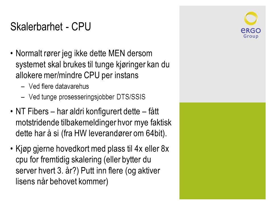 Skalerbarhet - CPU •Normalt rører jeg ikke dette MEN dersom systemet skal brukes til tunge kjøringer kan du allokere mer/mindre CPU per instans –Ved f