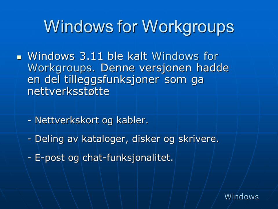 Windows for Workgroups  Windows 3.11 ble kalt Windows for Workgroups. Denne versjonen hadde en del tilleggsfunksjoner som ga nettverksstøtte - Nettve