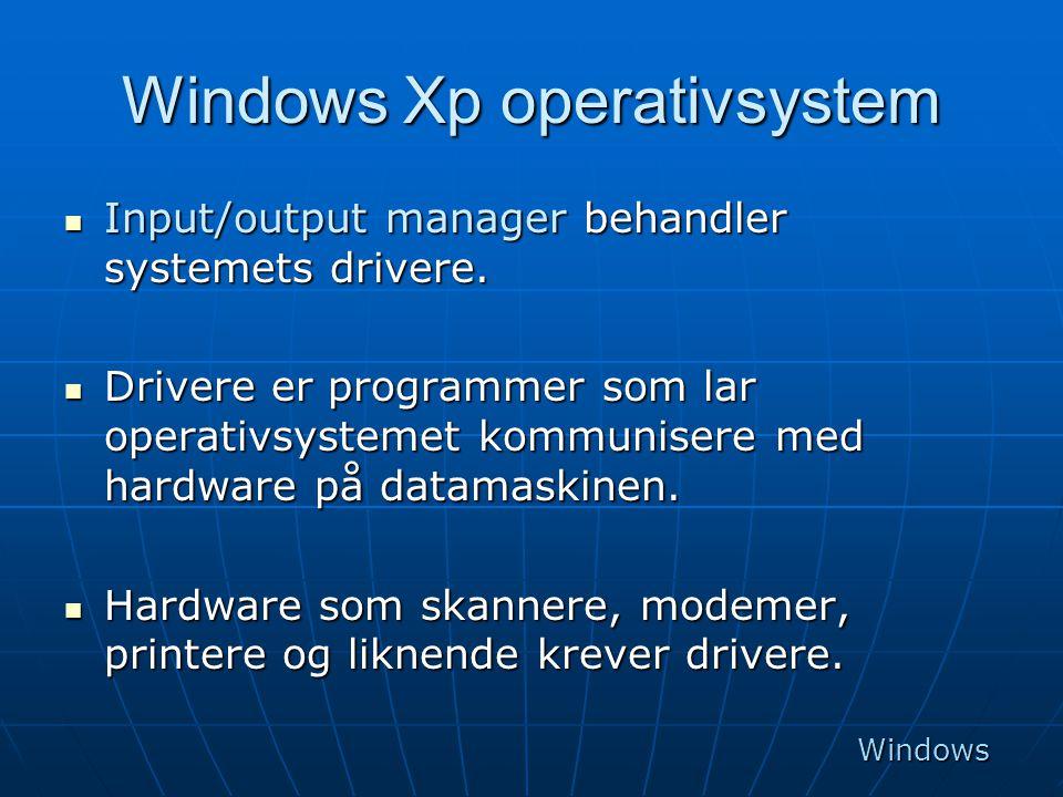 Windows Xp operativsystem  Input/output manager behandler systemets drivere.  Drivere er programmer som lar operativsystemet kommunisere med hardwar