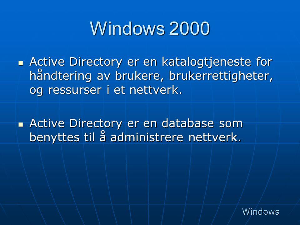 Windows 2000  Active Directory er en katalogtjeneste for håndtering av brukere, brukerrettigheter, og ressurser i et nettverk.  Active Directory er