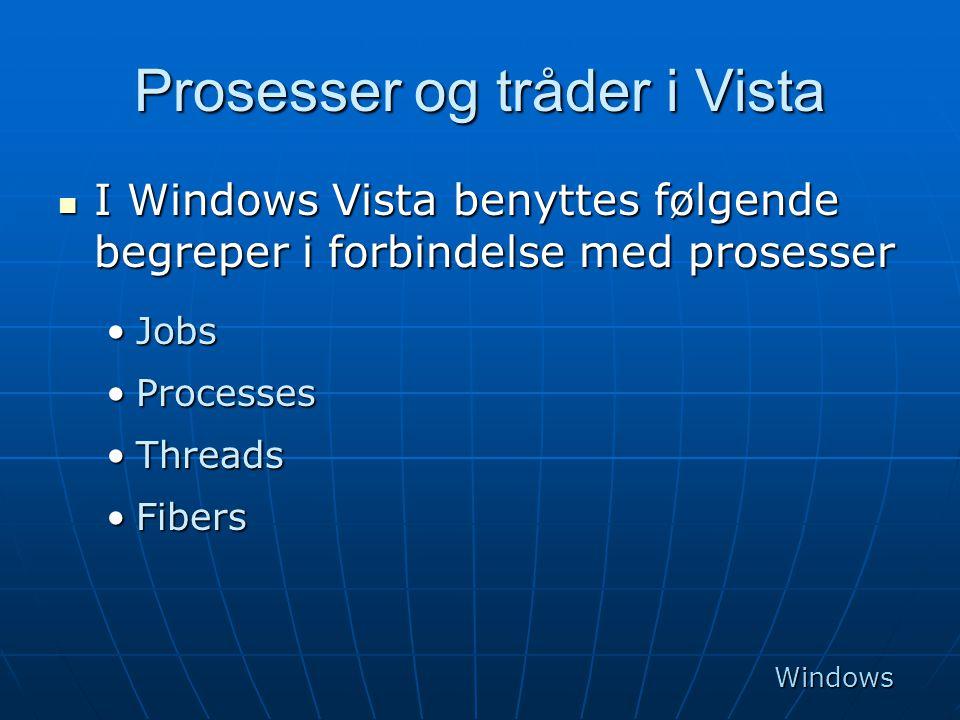 Prosesser og tråder i Vista  I Windows Vista benyttes følgende begreper i forbindelse med prosesser •Jobs •Processes •Threads •Fibers Windows