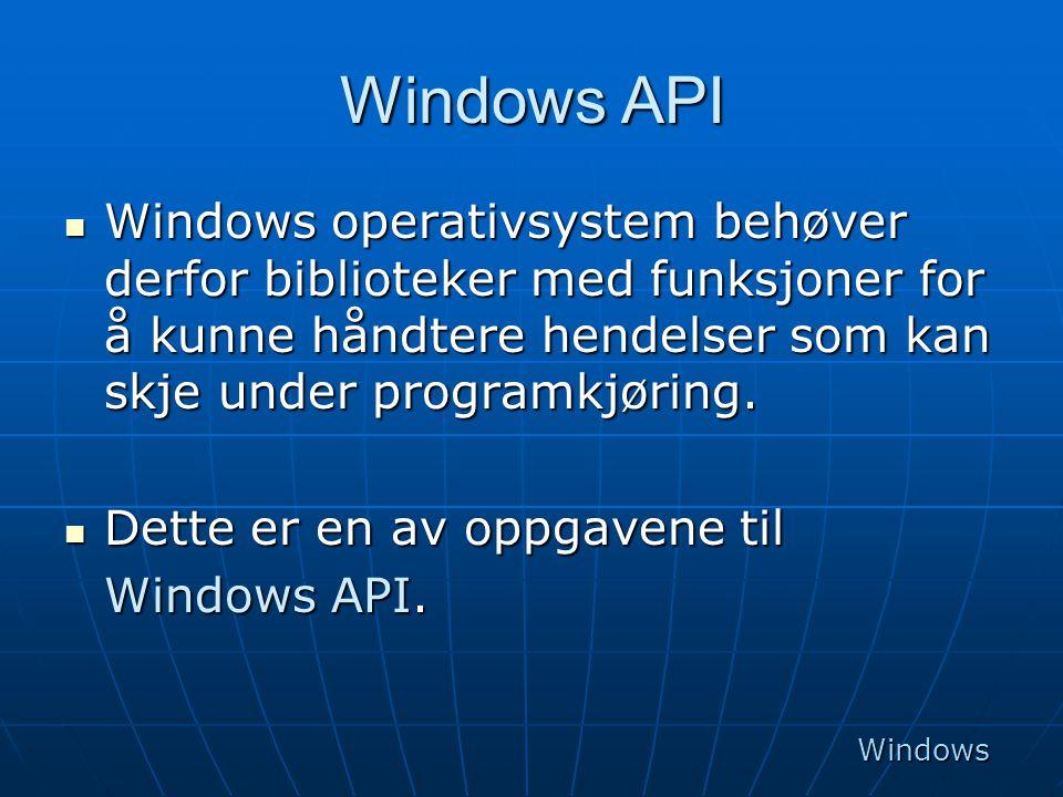 Windows API  Windows operativsystem behøver derfor biblioteker med funksjoner for å kunne håndtere hendelser som kan skje under programkjøring.  Det