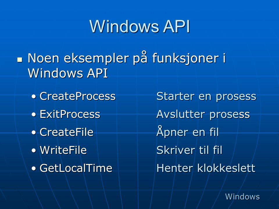 Windows API  Noen eksempler på funksjoner i Windows API •CreateProcessStarter en prosess •ExitProcessAvslutter prosess •CreateFileÅpner en fil •Write