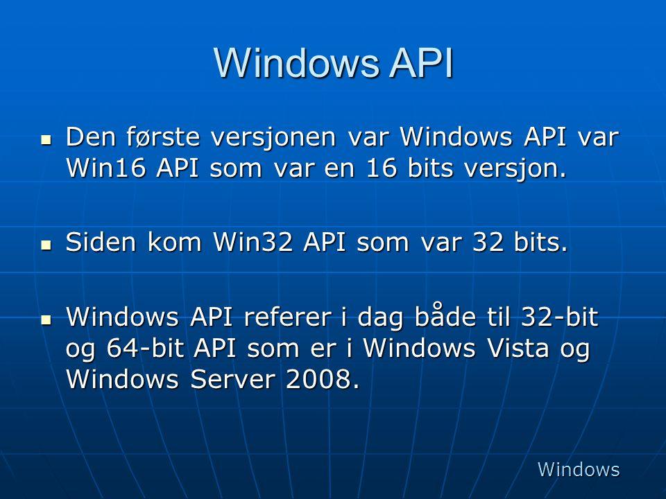 Windows API  Den første versjonen var Windows API var Win16 API som var en 16 bits versjon.  Siden kom Win32 API som var 32 bits.  Windows API refe