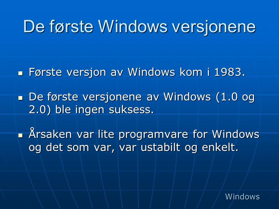 De første Windows versjonene  Første versjon av Windows kom i 1983.  De første versjonene av Windows (1.0 og 2.0) ble ingen suksess.  Årsaken var l
