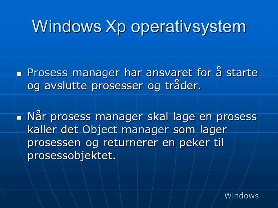 Windows Xp operativsystem  Prosess manager har ansvaret for å starte og avslutte prosesser og tråder.  Når prosess manager skal lage en prosess kall