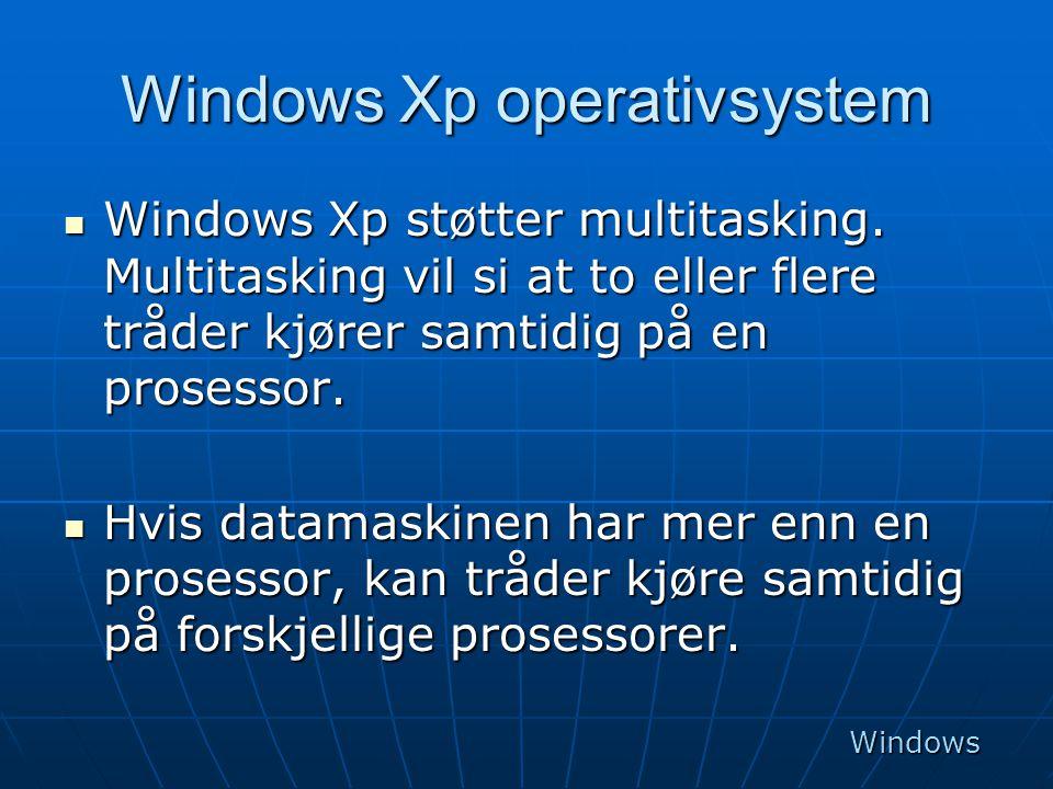 Windows Xp operativsystem  Windows Xp støtter multitasking. Multitasking vil si at to eller flere tråder kjører samtidig på en prosessor.  Hvis data