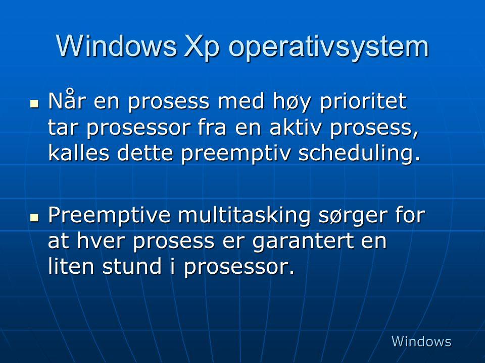 Windows Xp operativsystem  Når en prosess med høy prioritet tar prosessor fra en aktiv prosess, kalles dette preemptiv scheduling.  Preemptive multi