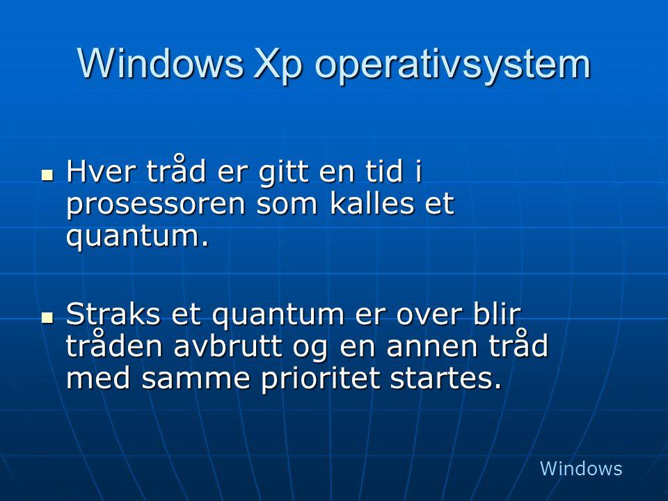 Windows Xp operativsystem  Hver tråd er gitt en tid i prosessoren som kalles et quantum.  Straks et quantum er over blir tråden avbrutt og en annen