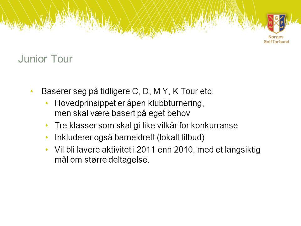 Junior Tour •Baserer seg på tidligere C, D, M Y, K Tour etc.