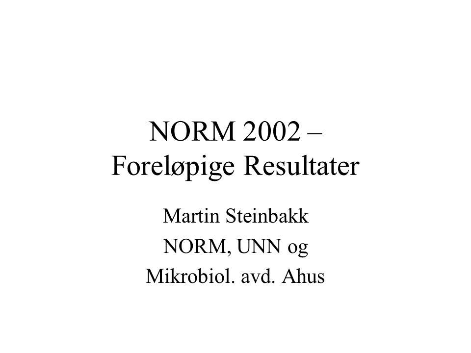 NORM 2002 – Foreløpige Resultater Martin Steinbakk NORM, UNN og Mikrobiol. avd. Ahus
