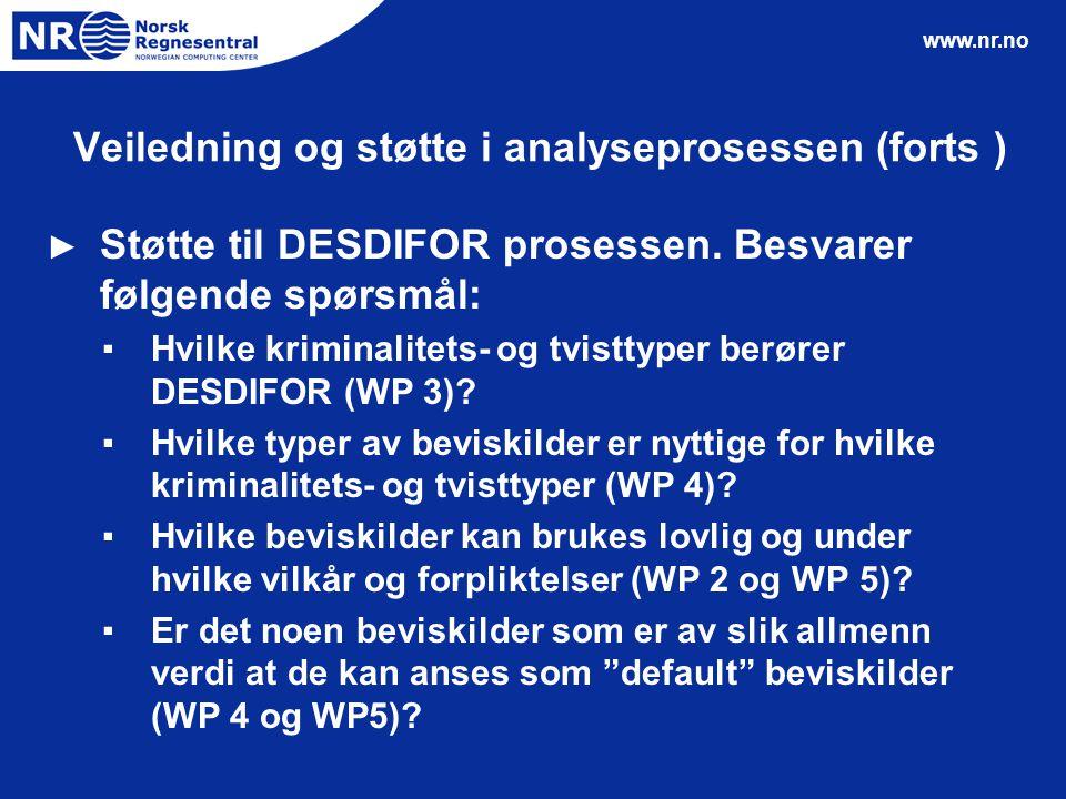www.nr.no Veiledning og støtte i analyseprosessen (forts ) ► Støtte til DESDIFOR prosessen. Besvarer følgende spørsmål: ▪Hvilke kriminalitets- og tvis