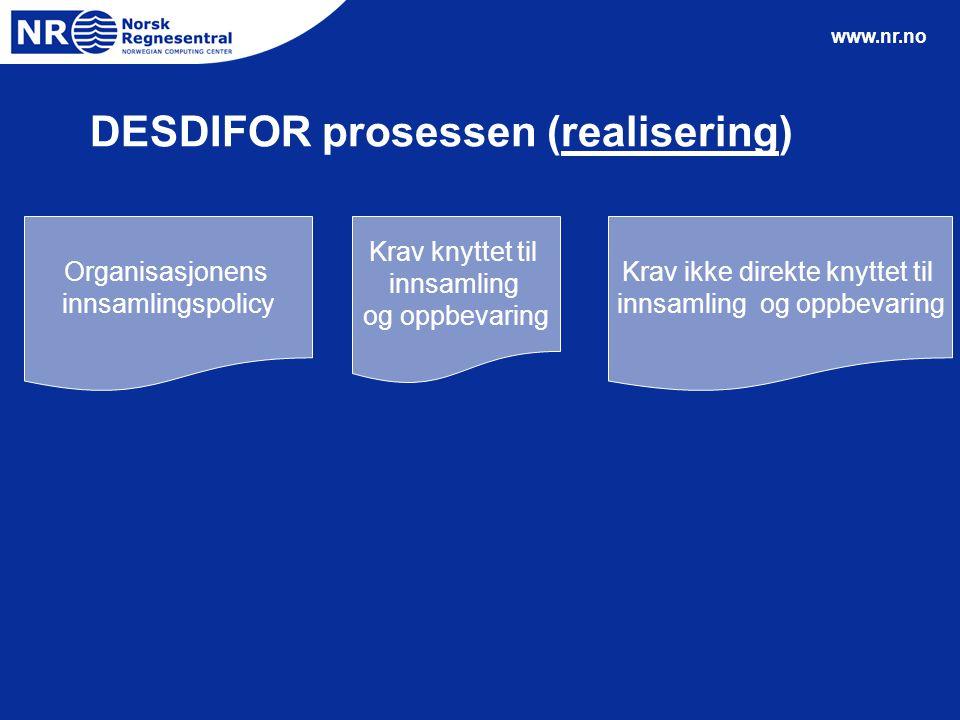 www.nr.no Krav knyttet til innsamling og oppbevaring Krav ikke direkte knyttet til innsamling og oppbevaring Organisasjonens innsamlingspolicy DESDIFO