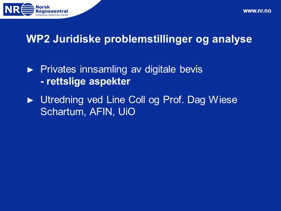 www.nr.no WP2 Juridiske problemstillinger og analyse ► Privates innsamling av digitale bevis - rettslige aspekter ► Utredning ved Line Coll og Prof. D