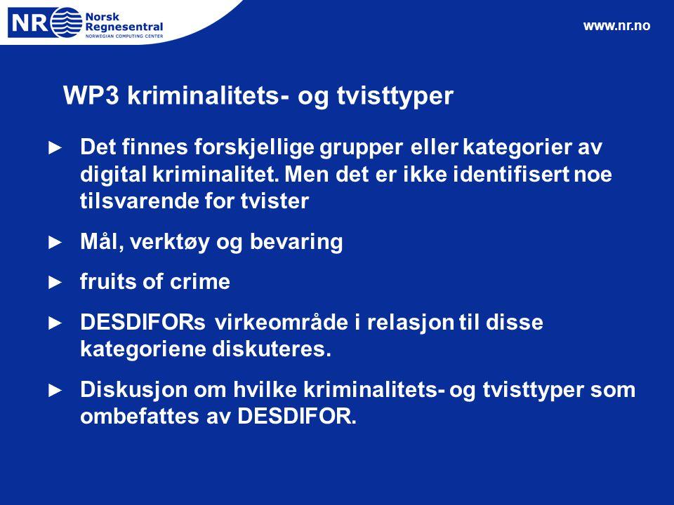 www.nr.no WP3 kriminalitets- og tvisttyper ► Det finnes forskjellige grupper eller kategorier av digital kriminalitet. Men det er ikke identifisert no