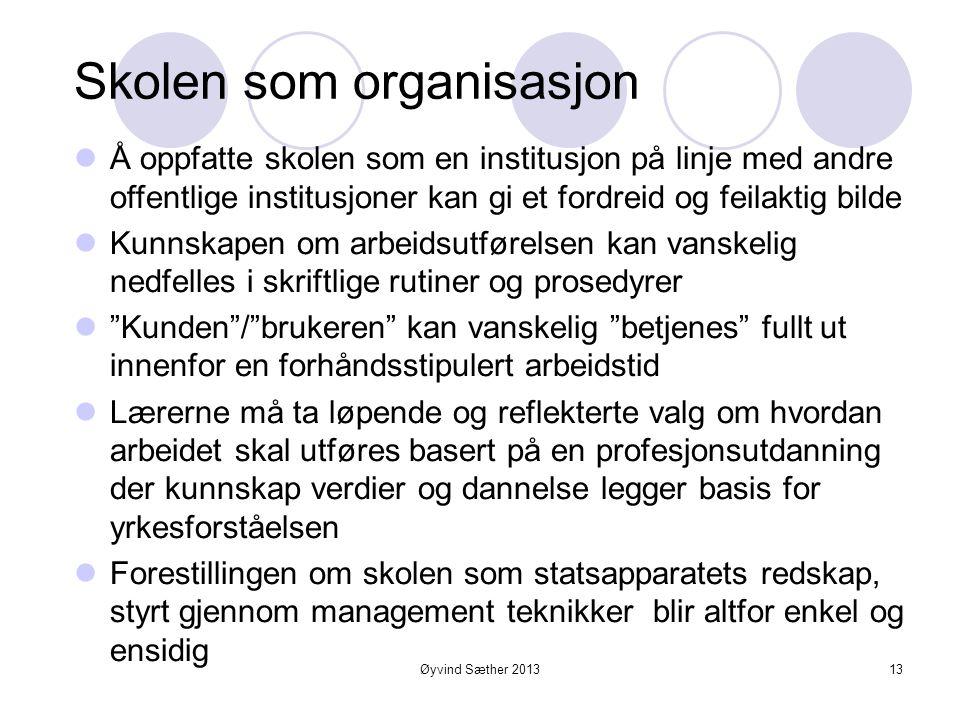 Øyvind Sæther 2013 To ulike forestillinger om skolen som organisasjon  Skolen som didaktiske lærer elev relasjoner?  Skolen synonymt med den gode læ