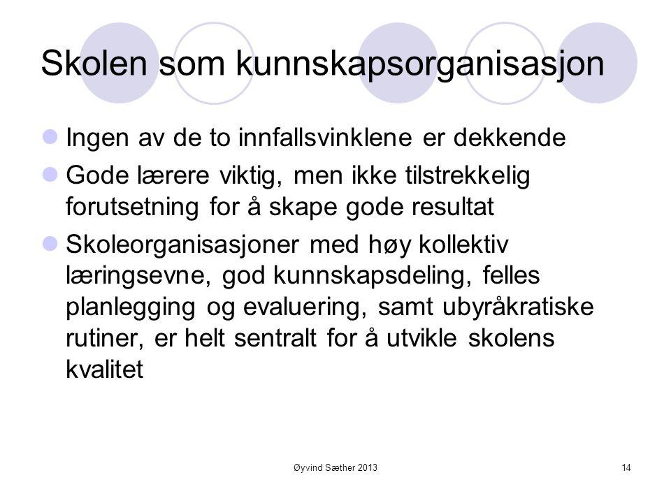 Øyvind Sæther 2013 Skolen som organisasjon  Å oppfatte skolen som en institusjon på linje med andre offentlige institusjoner kan gi et fordreid og fe