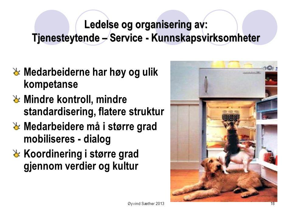 Tjenesteytende Kunnskapsvirksomhet  Personalintensiv  Kunnskapen i stor grad knyttet til personer enn innbakt i teknologi og arbeidsprosedyrer  Sel