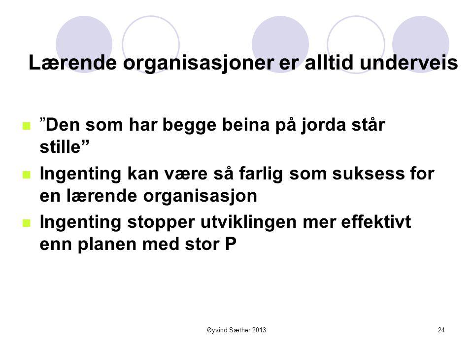 Øyvind Sæther 2013 Lærende organisasjoner - kjennetegn  Bevist utvikling og design av organisasjonen  En kultur som verdsetter kontinuerlig læring o