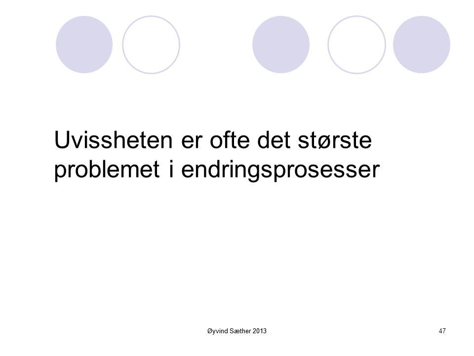 Øyvind Sæther 2013 I en forandringsprosess er det som oftest nødvendig med sterkere styring og ledelse enn normalt. 46